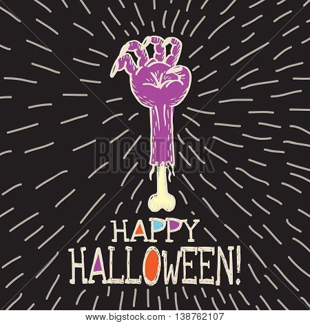 Halloween card with hand drawn dead man's arm on black background. Vector hand drawn illustration.