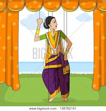Vector design of colorful Rajasthani Puppet doing Koli folk dance of Maharashtra, India