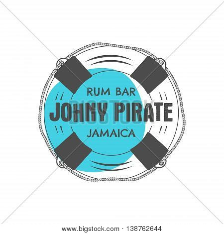 Vintage handcrafted rum bar label, emblem. Vector sign - johny pirate, Jamaica. Sketching filled style. Pirate and sea symbols - old lifebuoy. Isolated on white background. Vector illustration