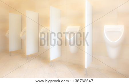 Men restroom - public toilet soft focus in pastel colors. Usable as image background.