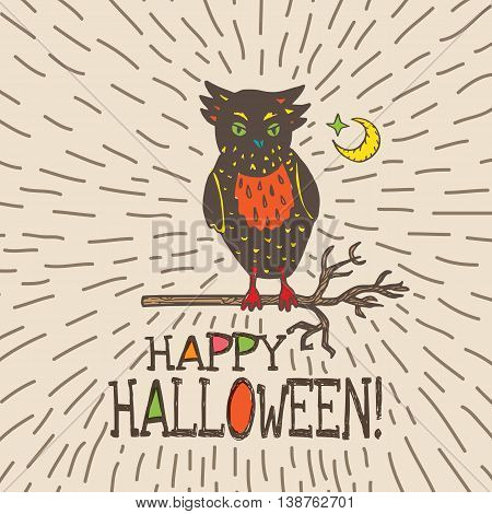 Halloween card with hand drawn owl silhouette on moon background. Vector hand drawn illustration on beige background.
