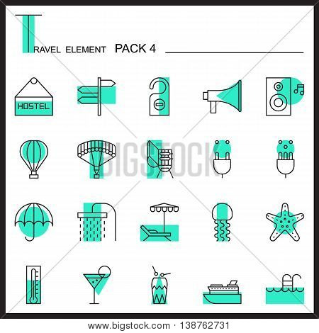 Travel Element Line Icon Set 4.Beach and Sea thin icons.Color pack.Graphic vector logo set.Pictogram design