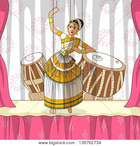 Vector design of colorful Rajasthani Puppet doing Mohiniattam classical dance of Kerala, India