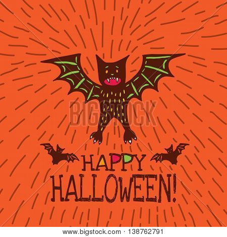 Halloween card with hand drawn bat in cute cartoon characters on orange background. Vector hand drawn illustration.