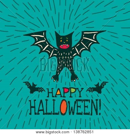 Halloween card with hand drawn bat in cute cartoon characters on turquoise background. Vector hand drawn illustration.