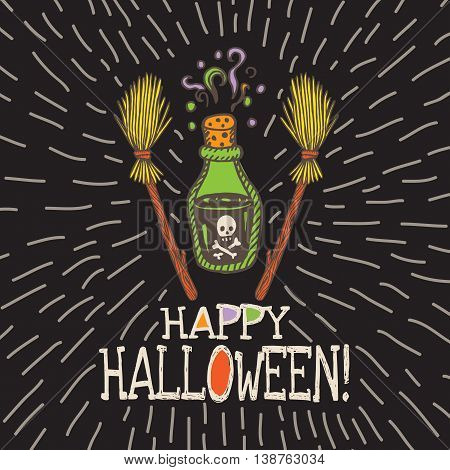 Halloween card with hand drawn magic potion bottle and broom on black background. Vector hand drawn illustration.