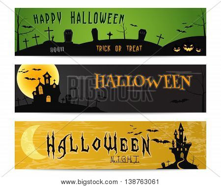 Three Halloween landscape banners. Green, dark and orange designs. Can be use on web, print, as invitation, flyer card, halloween poster etc. Creepy design for celebration holiday. Vector