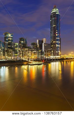 St George Wharf In London At Night, Editorial