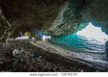 Cave On The Dafnoudi Beach On Kefalonia Island, Greece