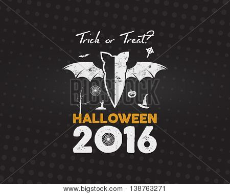 Happy Halloween 2016 Poster. Trick or treat lettering and halloween holiday symbols - bat, pumpkin, hand, witch hat, spider web and other. Retro banner, party flyer design. Vector