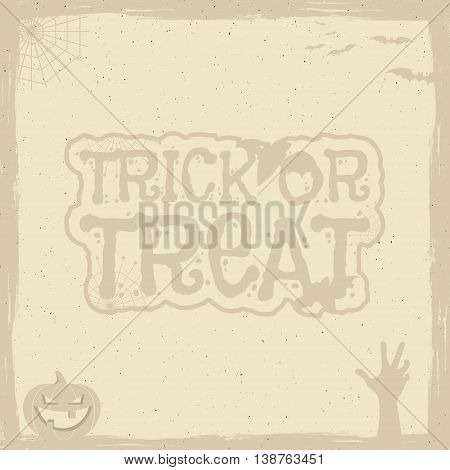 Happy Halloween Poster template with holiday symbols - bat, pumpkin, hand, witch hat, spider web and other. Trick or treat text. Use as retro banner, party flyer design etc. Vector illustration