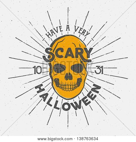 Halloween 2016 party label template with skull, sun bursts and typography elements. Vector text with retro grunge effect. Stamp for scary holiday celebration. Print on t shirt, tee and other identity.