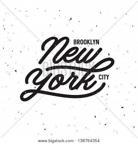Vintage hand lettered t-shirt design. New york city text. Hand drawn typographic composition. Retro old school graphics. Vector illustration.