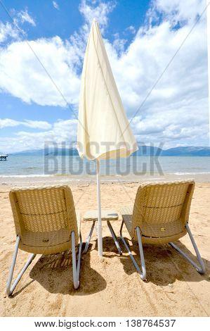 picture of a Beach on a Prespa Lake Macedonia