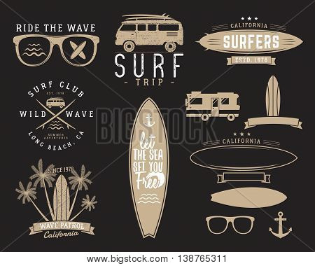 Set of Vintage Surfing Graphics and Emblems for web design or print. Surfer, beach style logo design. Surf Badge. Surfboard seal, elements, symbols. Summer insignias. Vector hipster colors