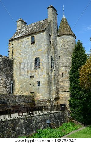 An external view of the tower building at Falkland palace