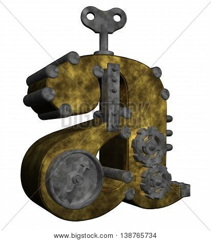 steampunk letter a on white background - 3d rendering