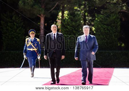 Meeting Ceremony Of Petro Poroshenko And Ilham Aliyev In Baku