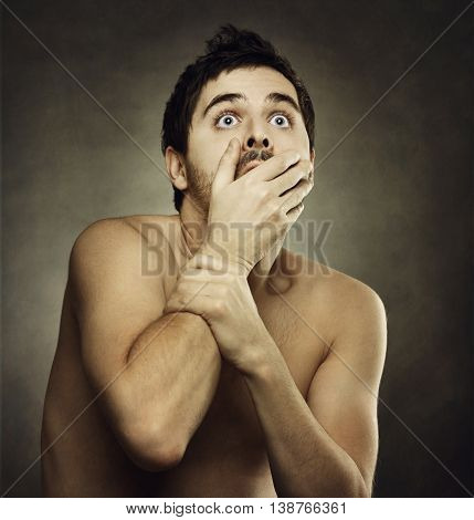 Afraid Male Victim Human With Hand Covering His Mouth
