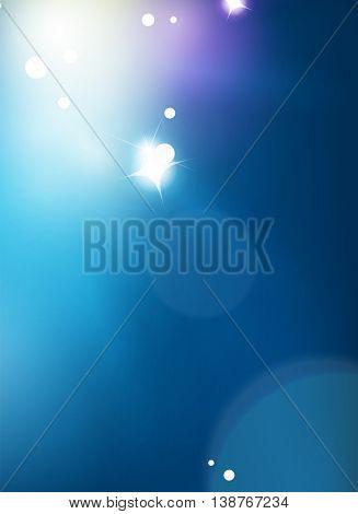 Blue shiny sky, modern abstract light background. Magic lights