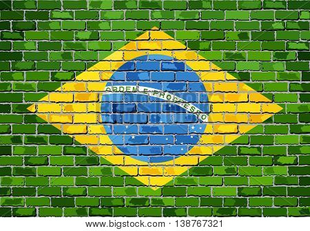Flag of Brazil on a brick wall - Illustration,  Brazilian flag painted on brick wall, Brazil flag in brick style