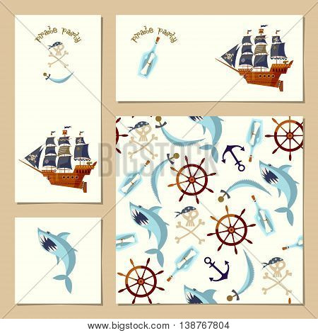 Set of 4 universal cards for Pirate Party. Template. Vector illustration