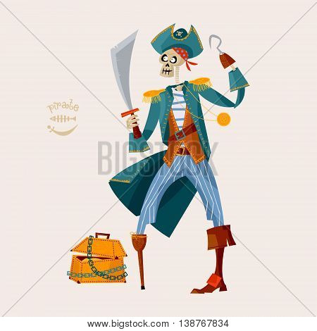 Skeleton Pirate and wooden chest with gold. Vector illustration