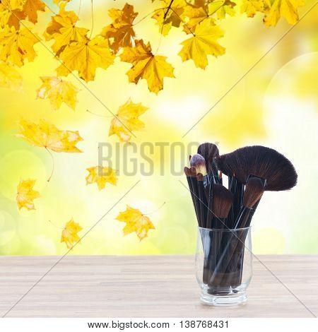 set of black brushes, lipsticks, maskara and eye shadows, fall park in background