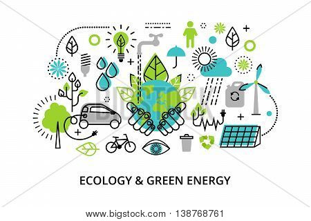 Modern flat thin line design vector illustration infographic concept of ecology problem generation and saving green energy for graphic and web design