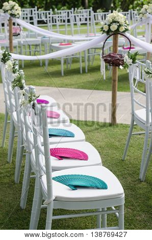 flower and chair decoration in western wedding celebration