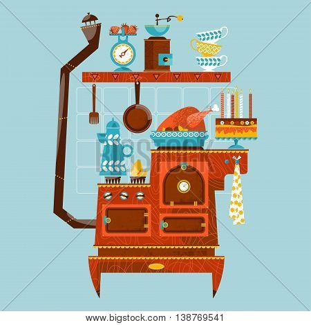Retro style stove with vintage kitchen appliances & utensils. Vector illustration