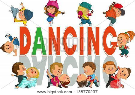 Funny cartoon. Vector illustration. funny couple dancing the waltz and tango Hip-Hop. Isolated objects.