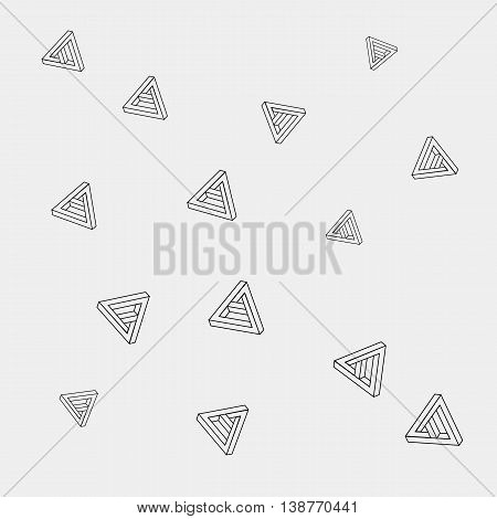 Pattern geometric seamless simple monochrome minimalistic pattern of impossible shapes, triangles.
