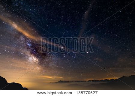 The Colorful Glowing Core Of The Milky Way And The Starry Sky Captured At High Altitude In Summertim