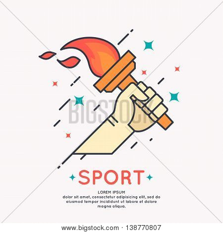 Vector illustration Hand with a burning torch for sports games in cartoon graphic style