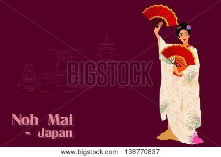 Vector design of Woman performing Noh Mai dance of Japan