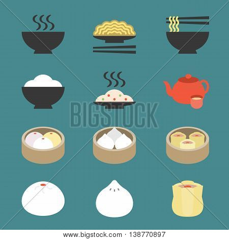 Vector color chinese cuisine icon, flat design