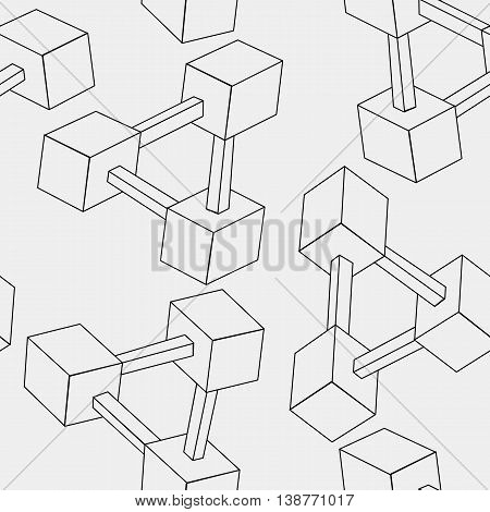 Pattern geometric seamless simple monochrome minimalistic pattern of impossible shapes, rectangles.
