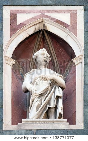 FLORENCE, ITALY - JUNE 05: Saint, Campanile (Bell Tower) of Cattedrale di Santa Maria del Fiore (Cathedral of Saint Mary of the Flower), Florence, Italy on June 05, 2015
