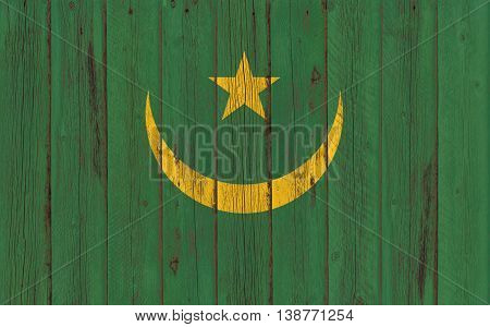 Flag of Mauritania painted on wooden frame