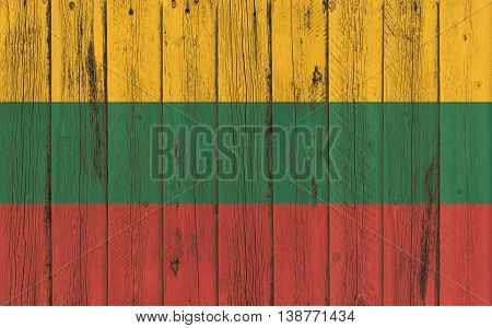 Flag of Lithuania painted on wooden frame