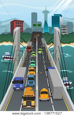 A vector illustration of aerial view of vehicle traffic crossing the bridge