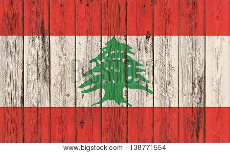 Flag of Lebanon painted on wooden frame