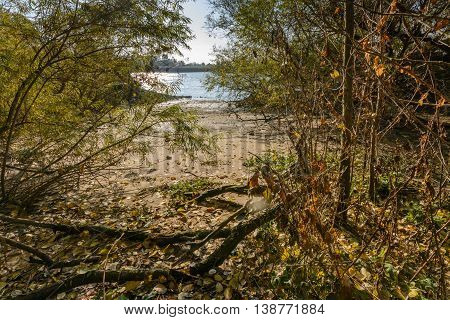 Riverbank of river Elbe near by hamburg