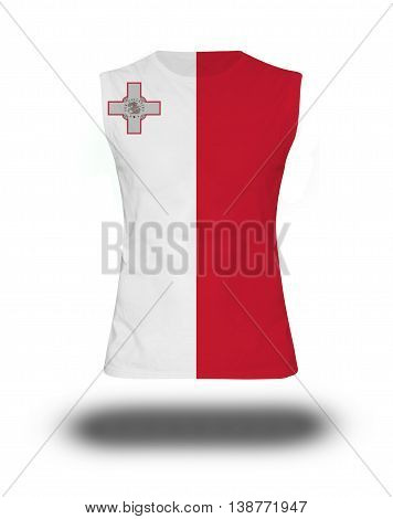 Athletic Sleeveless Shirt With Malta  Flag On White Background And Shadow