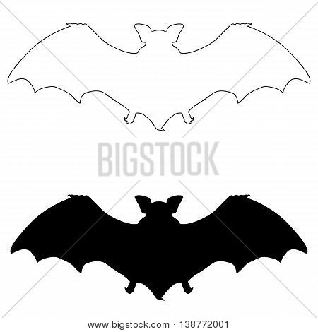 vampire bat black silhouette vector illustration set
