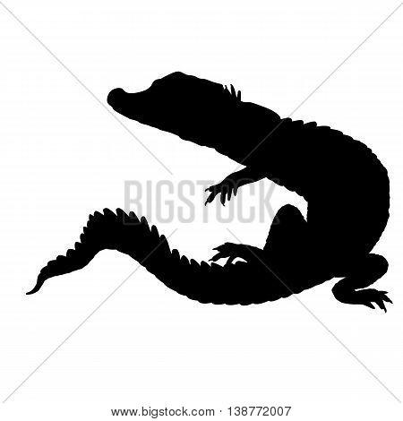 Crocodile black silhouette realistic vector illustration isolated