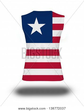 Athletic Sleeveless Shirt With Liberia Flag On White Background And Shadow