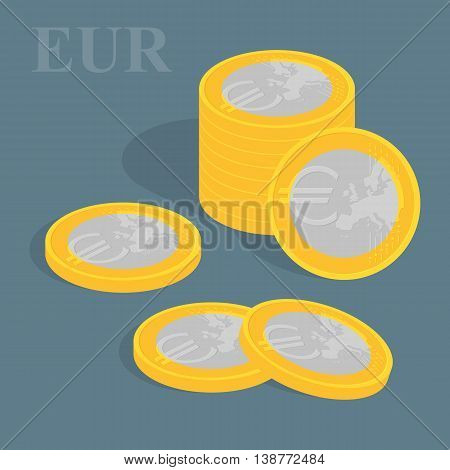 Euro coins set. Vector illustration. Pile of coins