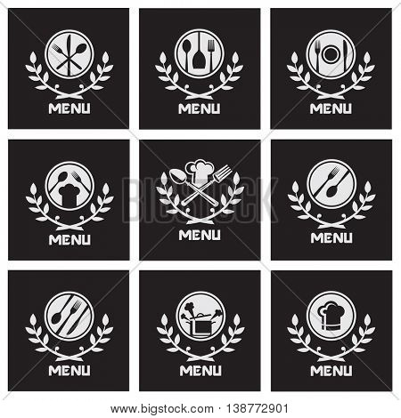 collection of black restaurant menu with cutlery